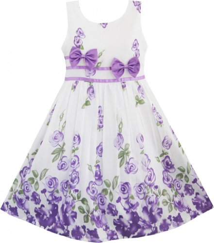 Sunny Fashion Girls Dress Purple Rose Flower Double Bow Tie Party 7-8 front-104425