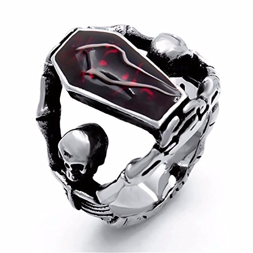 Elfasio Men's Stainless Steel Band Ring Gothic Vampire Skeleton Bloody Red Enamel Coffin Bike
