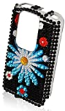 Nokia N900 Cover Black Blue Flower Diamante Mobile Phone Case KCMODE