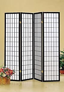 Coaster Oriental Style 4-Panel Room Screen Divider Black Framed