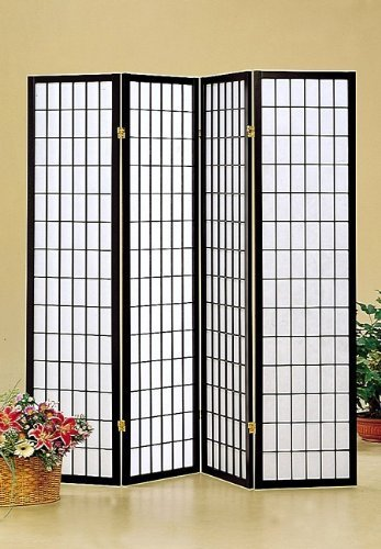 Find Discount Coaster Oriental Style 4-Panel Room Screen Divider, Black Framed