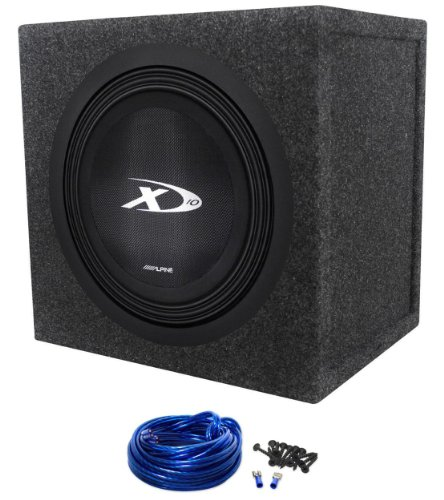 "Package: Alpine Type ""X"" 10"" Swx-1043D 3,000 Watt Peak/1000 Watt Rms Dual 4 Ohm Car Subwoofer + Rockville Rs10 Single 10"" Sealed Subwoofer Enclosure + Single Enclosure Wire Kit With 14 Gauge Speaker Wire + Screws + Spade Terminals"
