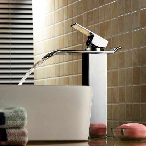 Lightinthebox® Contemporary One Handle Deck Mount Solid Brass Widespread Waterfall Bathroom Sink Faucet Chrome Finish Tall Spout Bath Basin Faucet Lavatory Mixer Taps Plumbing Fixtures Curve Spout Fau