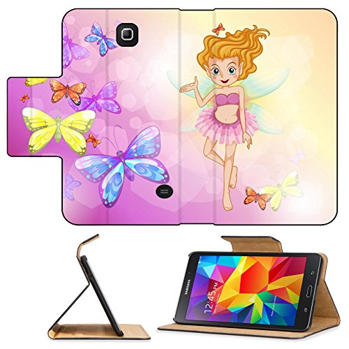 [Luxlady Premium Samsung Galaxy Tab 4 7.0 Inch Flip Pu Leather Wallet Case IMAGE ID: 19873996 Illustration of a fairy with the colorful] (Gumdrop Fairy Costume)