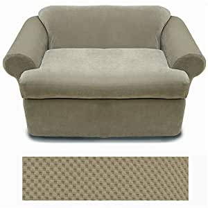 Stretch 2 piece T cushion Sofa Slipcover Taupe SSP-21