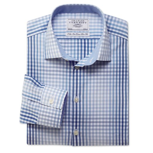 Charles Tyrwhitt Blue hombre gingham check non-iron business casual extra slim fit shirt (14.5 - 33)