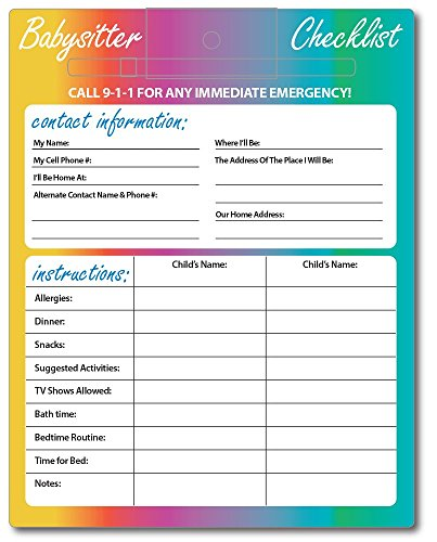 Babysitter Checklist Magnet - Laminated with Dry Erase Pen - 1