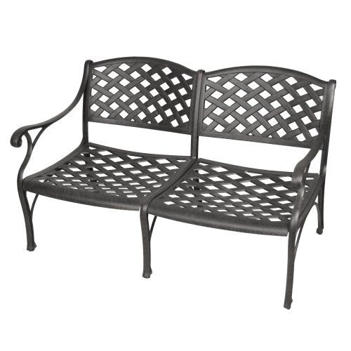 Walker Edison Cast Aluminum Loveseat, Black