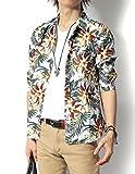 (リピード) REPIDO シャツ メンズ 七分袖シャツ カジュアルシャツ 花柄シャツ アロハシャツ ブロードシャツ 総柄シャツ フラワープリント 七分袖花柄シャツ B.ホワイト Lサイズ