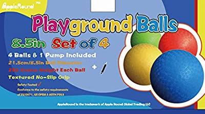 8.5 Inch Playground Balls (Set of 4) with 1 Hand Pump from Apple Round Global Trading LLC