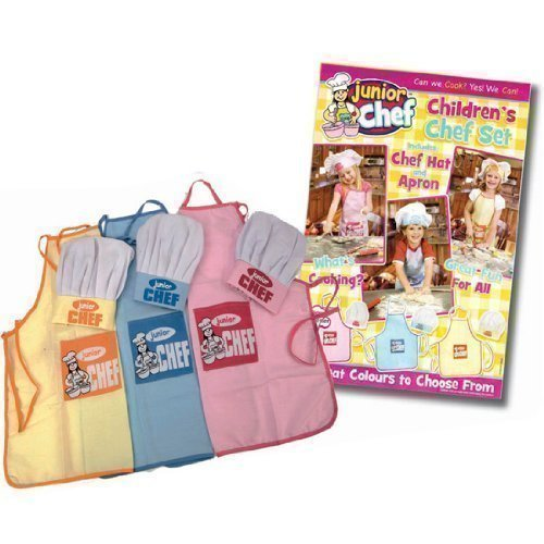new-kids-childrens-junior-chef-kit-set-cooking-apron-chefs-hat-blue