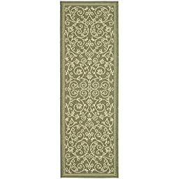 Safavieh Courtyard Collection CY2098-1E06 Olive and Natural Indoor/ Outdoor Runner, 2 feet 4 inches by 14 feet (2\'4\