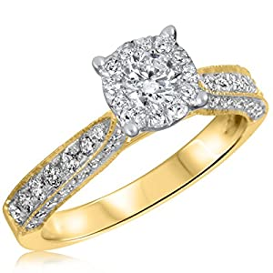 7/8 CT. T.W. Diamond Ladies Engagement Ring 10K Yellow Gold- Size 10.25