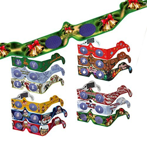 22 Pairs 3D Christmas and New Years Glasses - 13 Different Exclusive Styles -  Flat - 3Dstereo Holiday Eyes(TM)