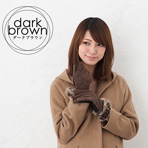 スマホ対応ラビットファー付きピッグスエードレザー手袋 イタリアンポルトラーノレザー使用 ダークブラウン M