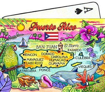 Puerto Rico Map Collectible Souvenir Playing Cards