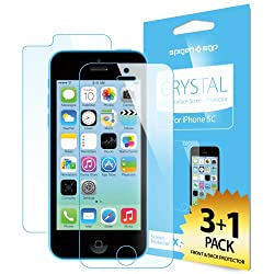 SPIGEN iPhone 5C Screen Protector [Crystal Clear] [4-PACK]**JAPANESE BASE PET FILM** Premium Front and Back Screen Protector - [LIFETIME WARRANTY] for iPhone 5C - Crystal CR (SGP10350)
