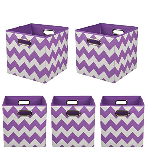 Modern Littles Organization Bundle Storage Bins, Color Pop Purple Chevron, 5 Count