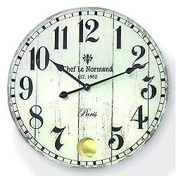 The Large Rustic Paris Fleur-de-lis Wall Clock, Swinging Pendulum, Quartz Movement, Antique White, Vintage Style, 22 ½ D, Glass, Aluminum Hardware, By Whole House Worlds