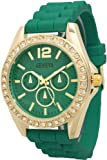 Women's Geneva Rhinestone-accented Chronograph Style Silicone Watch - Teal/Gold