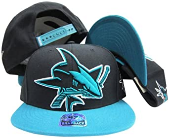 San Jose Sharks Black Out Two Tone Snapback Adjustable Plastic Snap Back Hat/Cap