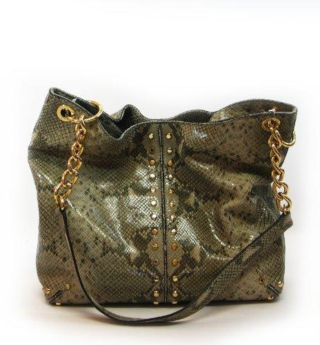 Michael Michael Kors Uptown Astor Large Shoulder Tote Tote Handbags - Angora Embellished Python