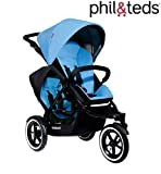 Phil & Teds NAVIGATOR & Double Kit Inline Double Baby Pushchair (Sky)