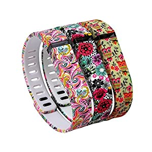 i-smile® 3PCS Replacement Bands with Metal Clasps for Fitbit Flex / Wireless Activity Bracelet Sport Wristband / Fitbit Flex Bracelet Sport Arm Band (No tracker, Replacement Bands Only) & 2PCS Silicon Fastener Ring For Free (Tatoo Flowers&Colorfull Flowers&Cute Owles, Small)