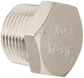 Stainless Steel 316 Cast Pipe Fitting, Hex Head Plug, Class 150, NPT Male