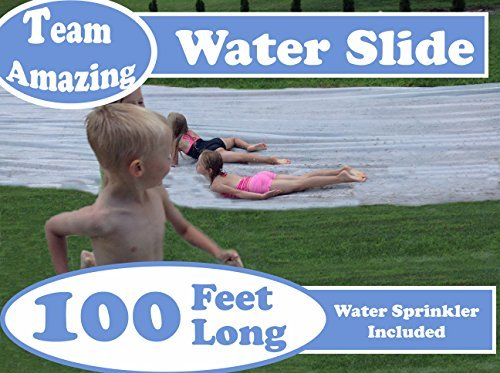 Great Features Of Lawn Water Slide 100 Feet with Water Sprinkler Hose Attachment - Team Amazing Pres...