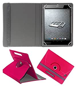 ECellStreet ™ PU Leather Rotating 360° Flip Case Cover With Stand For MICROMAX CANVAS TAB P480  - Dark Pink