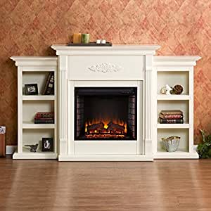 dublin ivory electric fireplace classic brick style interior and optional down. Black Bedroom Furniture Sets. Home Design Ideas
