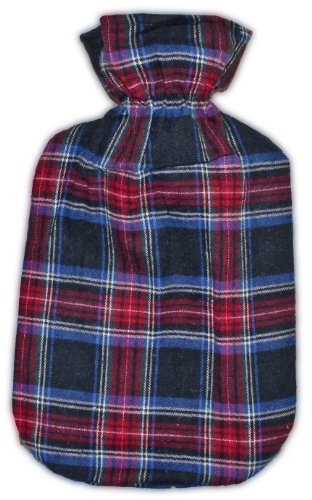 Warm Tradition Dark Plaid Cotton Covered Hot Water Bottle - Bottle Made In Germany, Cover Made In Usa