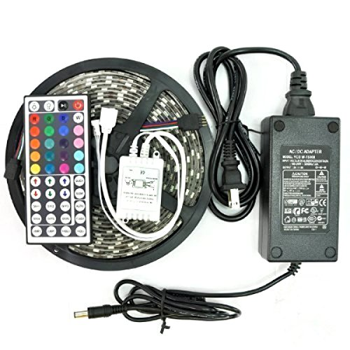 KLAREN-5m-164ft-RGB-Color-Changing-SMD-5050-Led-Strip-Lighting-Kit-300leds-SMD-5050-Waterproof-Flexible-Led-Strip-Lights-Kit-with-44keys-Remote-12v-5a-60w-Power-Adapter