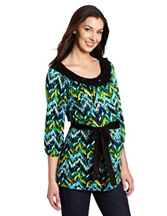Three Seasons Maternity Women's 3/4 Sleeve Crochet Yoke Print Top, Blue/Green/Black, Medium