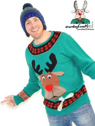 Mens Green Christmas Jumper £40 -Seen on TV- Colin Reindeer LARGE