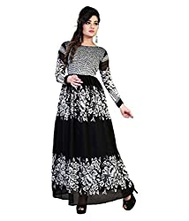 My online Shoppy Women's Georgette Semi Stitched Dress Material (My online Shoppy_134_Black_Free Size)