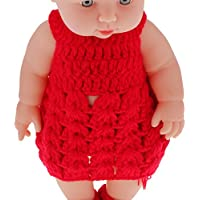 "Magideal 11"" Lifelike Baby Dolls Silicone Vinyl Soft Newborn Doll In Red Knit Suit"