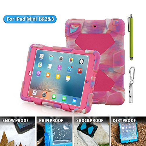 ACEGUARDER Apple Ipad Mini 2 Mini 1&2 Case Waterproof Rainproof Shockproof Kids Proof Case for Ipad Mini 2 Mini 1&2(Gifts Outdoor Carabiner + Whistle + Handwritten Touch Pen)(PINK CAMO ROSE) (Chicken Ipad Mini Case compare prices)