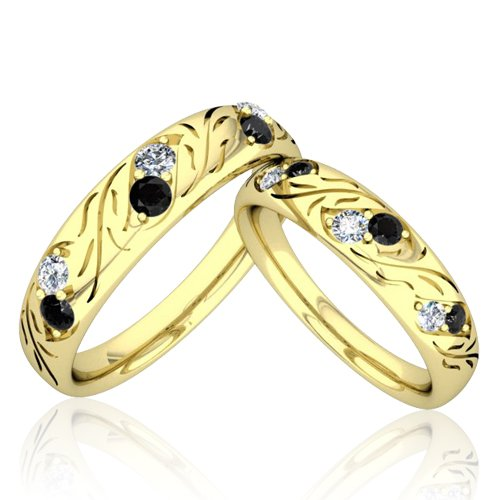Matching Wedding Bands His and Hers Black and White Diamond Rings in 14k Yel