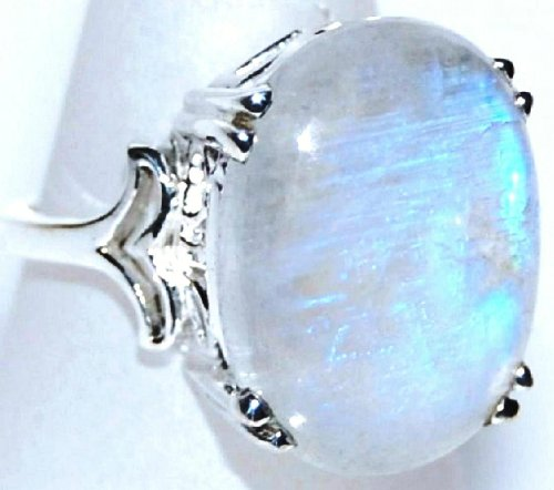 Mystic Rainbow Moonstone Solitaire Gemstone Ring; Size Q; Sterling Silver Rings, Hand made Jewellery