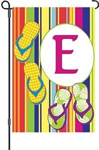 Premier Kites 51445 Summer Monogram Garden Flag, Letter E, 12-Inch