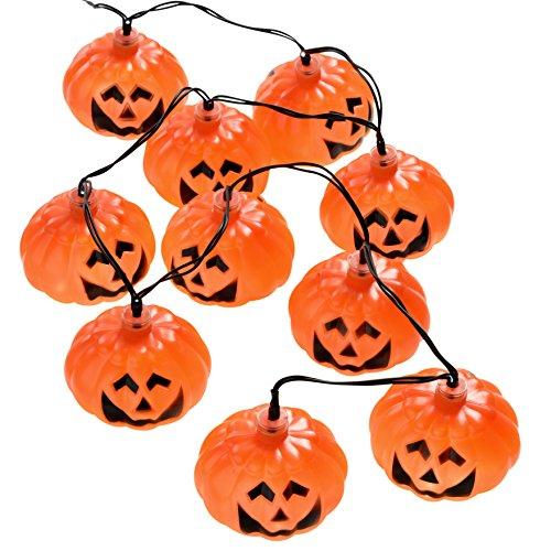 Wer Natale - Ghirlanda 10 zucche con luce bianca a LED per la decorazione di n Halloween, Arancione