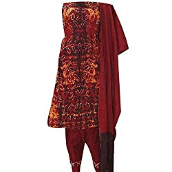 APKAMART Women Cotton Tie and Dye or Rajasthani Bandhej Fiery Red - Unstitched Dress Material - 2.2 Meters