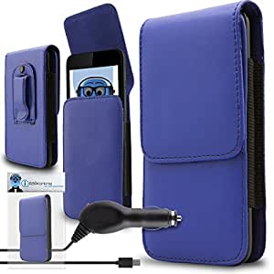 iTALKonline Huawei Ascend G7 (G7-L01, G7-L03) Blue PREMIUM PU Leather Vertical Executive Side Pouch Case Cover Holster with Belt Loop Clip and Magnetic Closure and 1000 mAh Coiled In Car Charger LED Indicator and Overload Protection