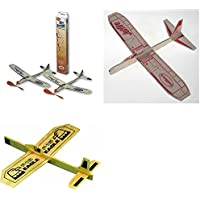 Guillow Balsa Wood Model Airplane Set Sky Streak Twin Pack, Jetfire Glider, And Eagle Glider