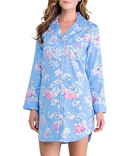 Lauren Ralph Lauren Ascot Lady Sateen Sleep Shirt Plus Size, 1X, Blue Floral