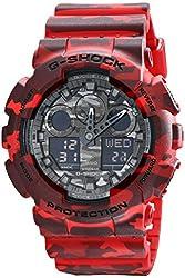 Casio G-Shock Camouflage Dial Series Red Resin Quartz Men's Watch GA100CM-4A
