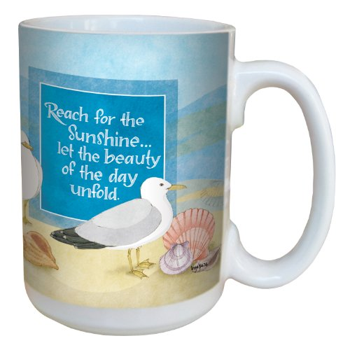 Tree-Free Greetings lm43476 Coastal Sunshine Seagulls by Robin Pickens Ceramic Mug with Full-Sized Handle, 15-Ounce