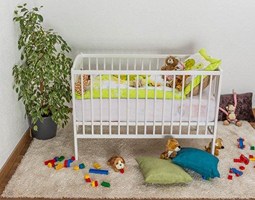 Gitterbett / Kinderbett Kiefer massiv Vollholz weiß lackiert 103, inkl. Lattenrost - Abmessung 60 x 120 cm